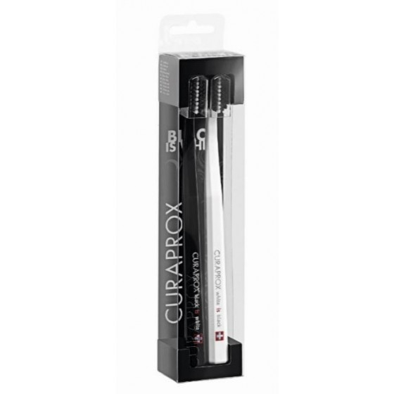 Curaprox Black is White Kit Escova Dentes Preta + Escova de Dentes Branca