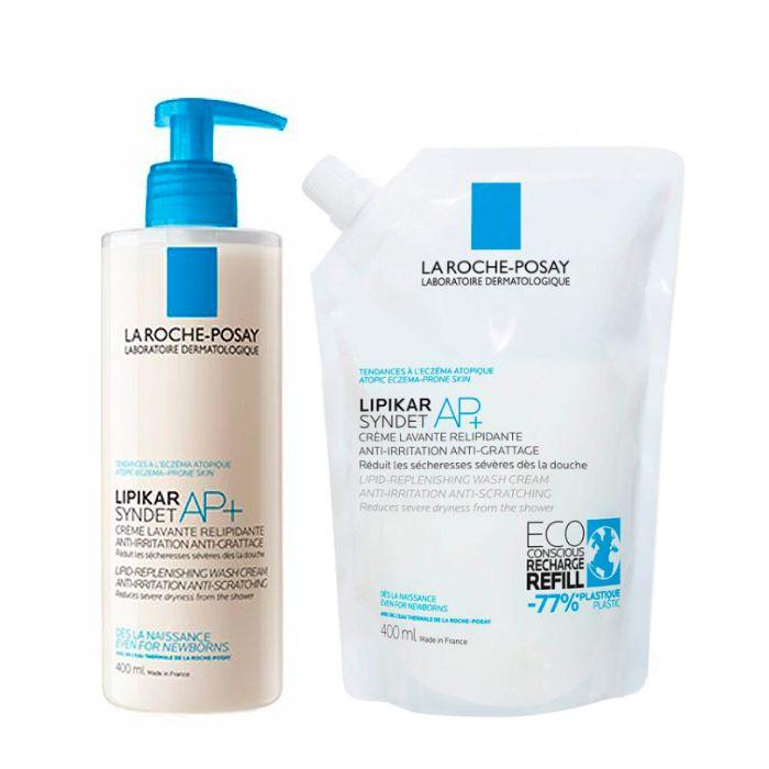 La Roche Posay Lipikar Syndet AP+ com recarga 400 ml (50% na 2ª embalagem)