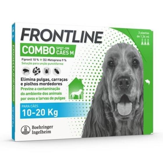 Frontline Combo Sol Cao 10-20kg 1,34mlx3 sol unção punctif VET